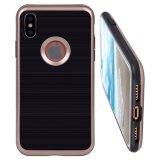 ローズの金によってブラシをかけられる金属の質の衝撃を与え吸収のハイブリッド二重層柔らかいTPUはAppleのiPhone Xのための低下の保護カバーを包装する
