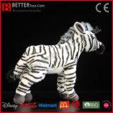 Juguetes suaves realistas de la felpa de la cebra del animal relleno para los cabritos/los niños