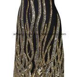 Form-runder Stutzen-lange Hülsen Sequini Kleid-Robe