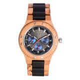 Reloj de madera del reloj de Japón del cuarzo de Movt de la prueba de múltiples funciones unisex de madera del agua