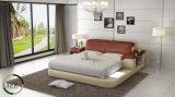Base moderna del cuoio della mobilia della camera da letto con il LED