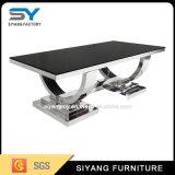 Tavolino da salotto di vetro del nero della Tabella di tè della Tabella dell'acciaio inossidabile