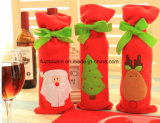 Крышка бутылки красного вина кладет украшения в мешки рождества для домашнего настоящего момента года Wew