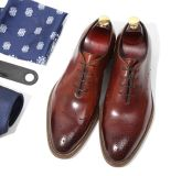 Brogueデザイン厚い牛革人の革服靴