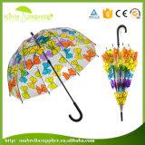 paraguas recto transparente del PVC del paraguas de Rod de los paneles 21inch 8