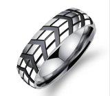 anillos punkyes del acero inoxidable del anillo del neumático de los hombres clásicos de 6m m para la joyería masculina Anel Masculino Bague Homme de la venda de boda