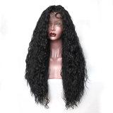 Perruque synthétique de cheveu d'avant bouclé de lacet de noir de mode de Dlme