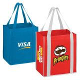 Non-Woven青および赤く大きいショッピング・バッグ