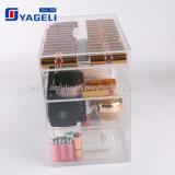 Caixa acrílica transparente da beleza da composição de 4 gavetas