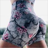 Venda Direta de fábrica Flores impressas com calções de ioga cintura e nádegas