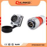 Cnlinko 2 Pin 금속 쉘 발광 다이오드 표시를 위한 전기 원형 방수 IP67 고압선 연결관