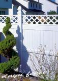 Haut de la vie privée en plastique avec haut de la clôture en treillis