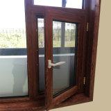 Colore di legno che rifinisce la finestra di alluminio di girata di inclinazione della finestra della stoffa per tendine della rottura termica