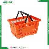 Cesta de compra plástica do supermercado com punho dobro