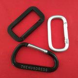 Площадь цепочки ключей черного цвета держателя карабина алюминиевых стопорного крючка в Китае