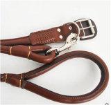 La correa del perro de cuero auténtico y el collar para perros grandes