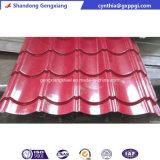 赤い金属のタイルの屋根瓦の波形を付けられた電流を通された鋼板