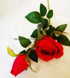 Artificial verdadero toque de seda rosa flor