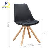 Tulip Voltar plástico PU Seat Pernas de madeira Cadeira de jantar