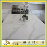 Kitchenの島のためのカスタムWhite Calacatta Artificial Quartz Stone Countertop