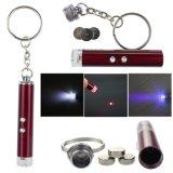 Free Battery 3 in 1 Mini Money Checker Light Laser Pointer UV Keychain Lanterna