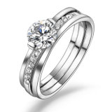実質の白い金張りの銅のジルコンの約束の結婚指輪