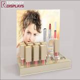 Stands acryliques clairs de produit de beauté de crémaillère d'étalage de rouge à lievres de contre- dessus