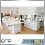 Lajes brancas puras Polished de quartzo para a bancada da cozinha