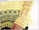 La camicia Long-Sleeved del merletto del nuovo collo rotondo dell'Europa grandi iarde slaccia la camicetta di cucitura di estate delle donne della maglietta del merletto Openwork del Crochet