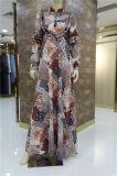 2019 Hot Sale Fashion Chiffon tissu Falbala élégant Abaya musulman robe de fête