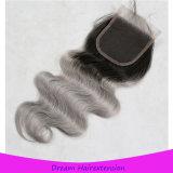 Ombre 1b/Grey Karosserien-Wellen-Schweizer Spitze-Schliessen-Haar