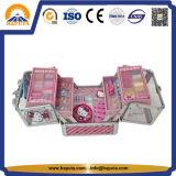 Cadre de mémoire de cas de beauté de Kitty de mode bonjour avec 4 plateaux pour les gosses (HB-6350)