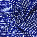 Azul y blanco de la tela de las lanas del telar jacquar