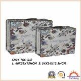 Комплект из 3 Vintage цветы шаблон печати Fabic чемодан украшения в салоне Подарочная упаковка