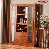 Cabinet de vin en bois massif en acajou massif (GSP9-053)