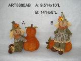 Glückliche Ernte-Vogelscheuche, die Pumpkins-2asst spielt