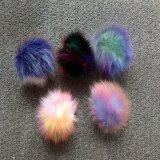 車のキツネの毛皮POM POMの虹の毛皮の球Keychain