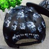 Casquillo negro de la PU del color con el bordado 3D