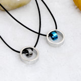 Paar-Form-Schmucksache-Edelstahl-doppelte Ring-Anhänger-Halskette