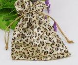 De Zak van de Juwelen van het Satijn van Drawstring van de Gift van het Patroon van de luipaard