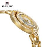 Vigilanza Luna-A forma di del quarzo della cinghia del braccialetto del nuovo delle signore di Belbi della vigilanza del doppio del disco lato d'acciaio dell'attrezzo
