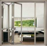 Puerta de plegamiento Bifold de aluminio exterior del vidrio Tempered del marco de puerta de China del precio