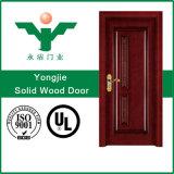 Modèle en bois de porte des prix de la Malaisie de porte en bois solide avec la glace