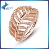 羽のリングローズ及び確実で良い宝石類のリングと結婚する女性の方法のための明確なCZ指リングとして925純銀製ライト