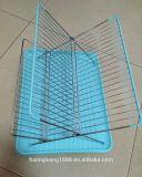 クロム皿が付いている折る皿ラック鋼鉄折る水切りかごの流しの皿のオーガナイザーの水切り器