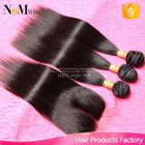 Бразильские прямые волосы с человеческими волосами закрытия 3PCS с волосами девственницы закрытия дешевыми Unprocessed бразильскими прямо с закрытием