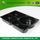 黒いプラスチック使い捨て可能なファースト・フードの皿