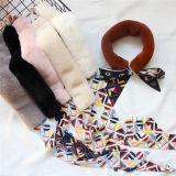 Sjaal van de Hals van het Konijn Rex van de winter de Elegante Vrouwelijke Korte Echte met het Lint van de Zijde