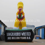 Pubblicità del dinosauro gonfiabile del ventilatore di aria con la base