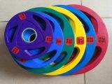 체조 무게 점화 Dumbell와 바벨에 있는 3개의 다채로운 Limpic 고무 풍부한 무게 격판덮개